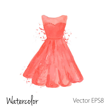 vector watercolor painted red dress.