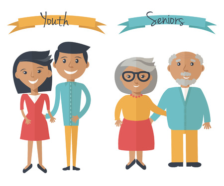 Woman and man couple generations. Family couple at different ages. Youth and seniors people isolated on white. Vector illustration in flat style. 일러스트