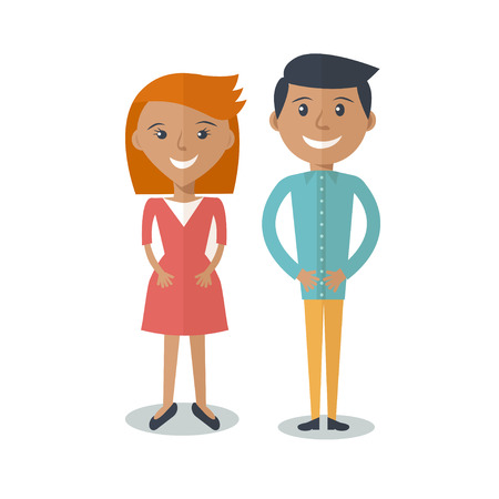 Happy  Smiling  Couple in Flat Style. Man and woman in casual clothing isolated on white background. Vector modern illustration
