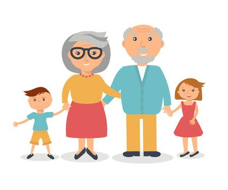 abuelos: Abuelos mayores con sus grandchilds. Concepto de familia Gente. Vector de estilo plano. Ilustración el día del abuelo.