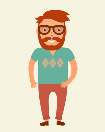 beard man: Hipster man. Flat style young beard man illustration. Smiling man in tshirt and chino pants