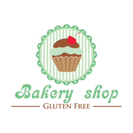 coeliac: Gluten free bakery shop logo. Cute cupcake on striped background, retro style badge Illustration