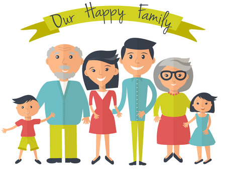 Happy family illustration. Father mother grandparents son and dauther portrait with banner. Vettoriali