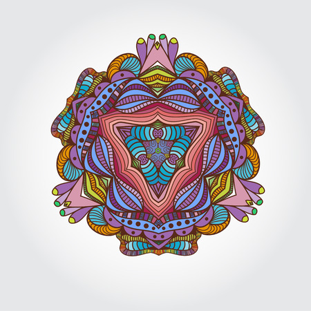 asian culture: Mandala hand drawn multicolored element. Vintage circle floral elements. Islamic, Arabic, Indian, Asian culture element. Can be used for logo. Illustration