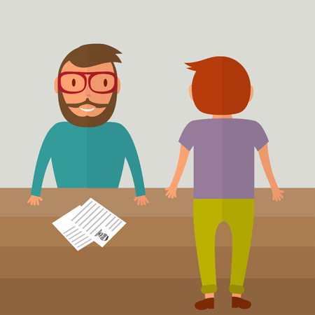 colleagues: Interview for a job. Two young men from different sides of the table. Resume paper blank on the table. Vector illustration in flat style.
