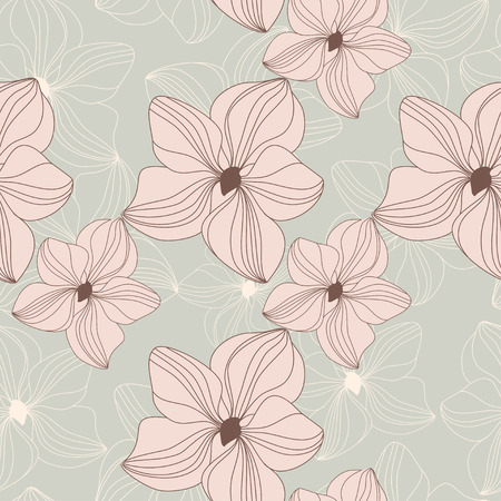 pink orchid: Retro seamless pattern with pink orchid flowers on beige background.