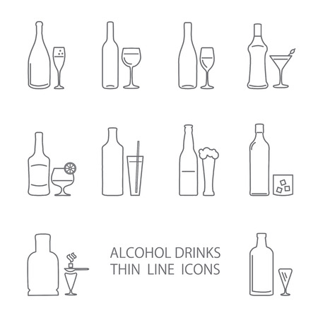 Alcohol thin lines icons set. Wine beer gin wisky absinght champagne icons Vectores