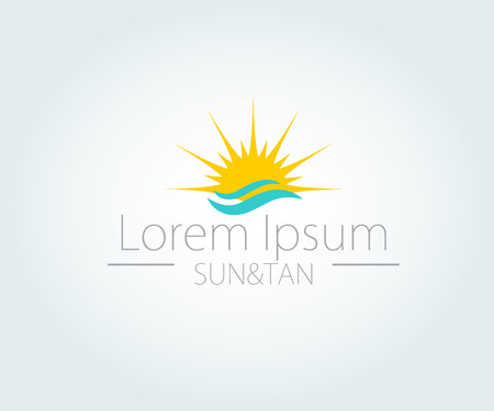 Vector Logo with yellow sun and blue sea waves. Vector logotype.