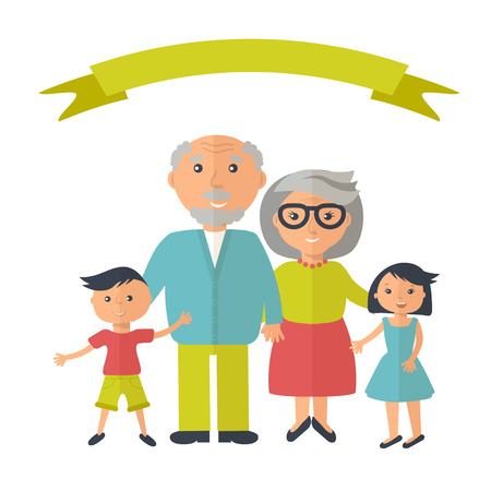 grandparent: Senior grandparents with their grandchilds. People family concept. Flat style vector. Grandparent day illustration Illustration