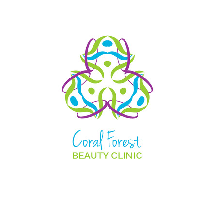 health beauty: Health or beauty studio logo. Colorful flower sign. Can be used for logotype for health, beauty or sport studio and clinic Illustration