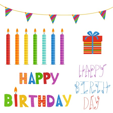 present box: Birthday elements set  in bright colors. Candles, present box,flags and  text Happy Birthday. Good for scrapbooking or greeting card design