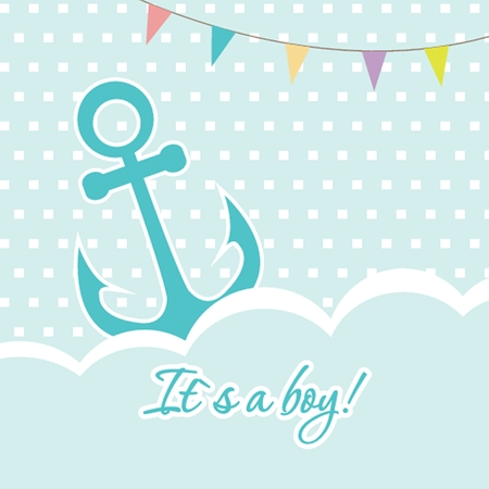 baby blue: Baby boy shower card with cute anchor on seamless polka dots background