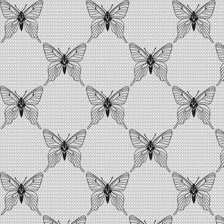 voile: Black and white seamless pattern with butterflies on the voile