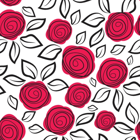 flores vintage: Seamless pattern with abstract rose flowers. Vector illustration.