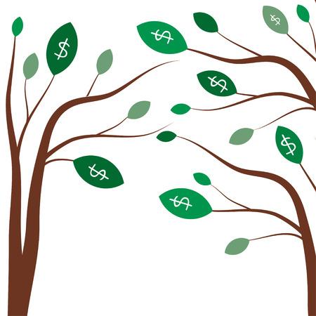 signos de pesos: Árboles de dinero. Concepto de negocio con señales blancas dólar en las hojas de los árboles verdes