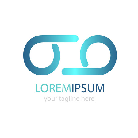 eyewear: Glasses logo from two b letters. Blue logo design Illustration