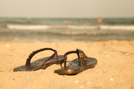 balaton: Beach slippers on sand beach of Lake Balaton