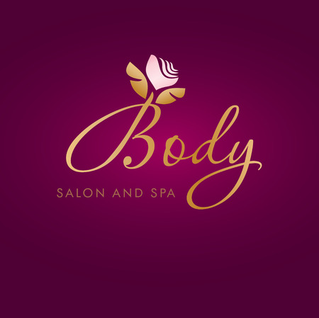 Vector illustration with abstract flower symbol. Logo design.  For beauty salon, spa center, health clinic or flower shop.