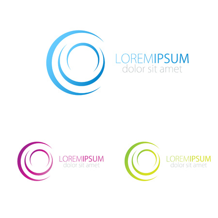 Circle logo icon. Blue, pink and green vector logotype for social, web, media and other business company.