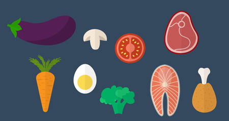 salmon steak: Healthy food icons. Healthy eating vector concept. Beef steak, chicken leg, salmon steak, mushrooms, olives, egg, eggplant, broccoli and other vegetables in flat style. Stock Photo