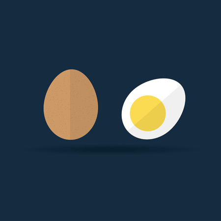 whole chicken: Vector hard-boiled and raw egg icon. Two brown chicken eggs, whole in eggshell and cut in half eggs illustration on dark background. Flat style egg illustration