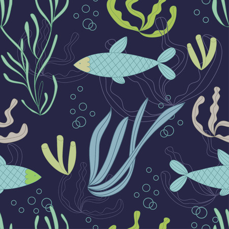 plantes aquatiques: Seamless pattern with hand drawn fishes and water plants.