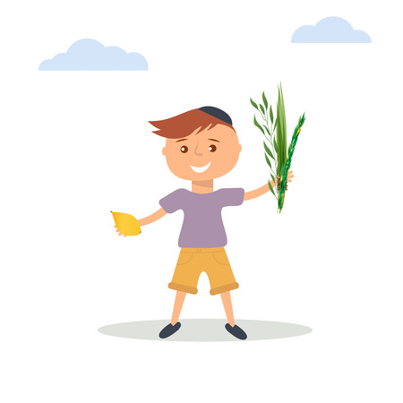 arava: Vector illustration of little boy in Jewish skullcap. Boy holding in hands four species - palm, willow, myrtle , lemon - symbols of Jewish holiday Sukkot. Autumn holiday of Sukkot illustration. Illustration