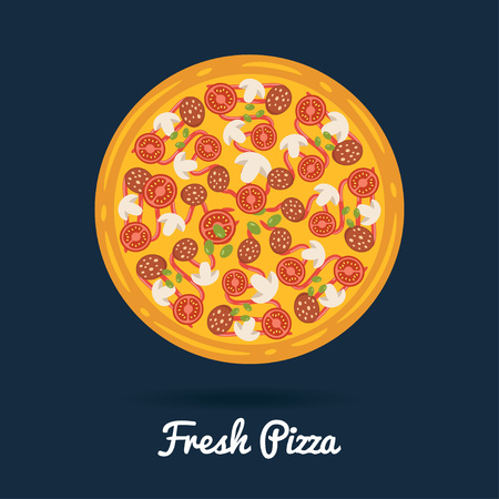 salame: Fresh salami pizza. Flat style vector illustration of healthy pizza.