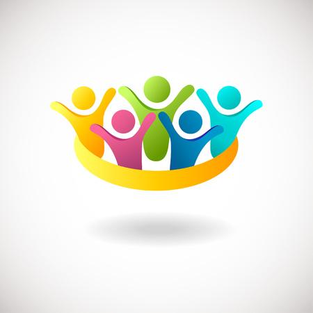 obra social: Gente abstracta logotipo, muestra, icono. Gente azul, rosa, verde y amarillo símbolos. Concepto del vector para la red social, el trabajo en equipo, la compañía, sociedad, amigos, familiares y otros Vectores