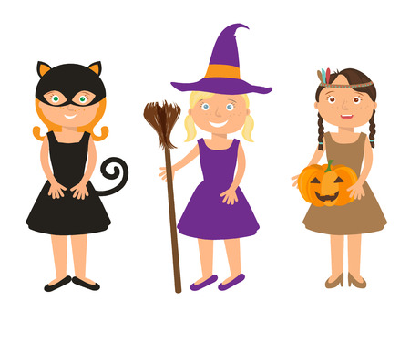 cosplay: Vector Illustration of cute little girls portraits in halloween costume. Black Cat, Whitch and Pocahontas holding halloween pumpkin in theire hands. Halloween trick or treat illustration. Illustration