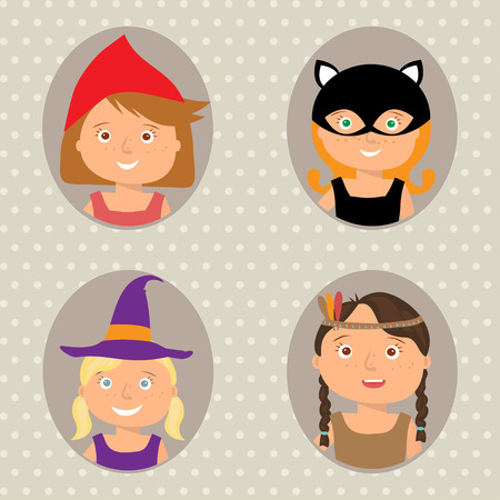 cosplay: Vector Illustration of gute little girls portraits in halloween costume. Little Red Riding Hood, Pocahontas, Black cat and Witch. Halloween trick or treat illustration. Illustration