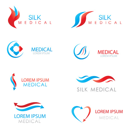 globe hand: Design Elements Logos Set. Medicine logo. Arrows, hearts and abstract symbols logo for clinic, hospital or doctor Illustration