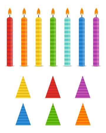 Vector Holiday Set.  Colorful Birthday Candles and Hats  on white background. Rainbow colors. Vectores