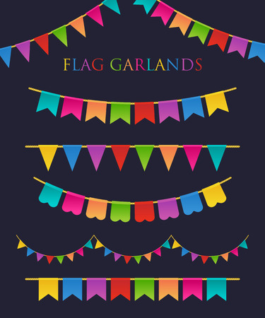 bunting flags: Vector Illustration of Colorful Garlands on dark background. Rainbow colors buntings and flags. Holiday set.