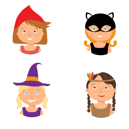 black and red: Vector Illustration of gute little girls portraits in halloween costume. Little Red Riding Hood, Pocahontas, Black cat and Witch. Halloween trick or treat illustration. Illustration