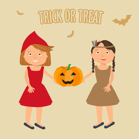 brujas caricatura: Ilustración de las niñas lindas retratos en traje de Halloween. Caperucita Roja y Pocahontas celebración de calabaza de Halloween en theire manos. truco de Halloween o ilustración de tratar.