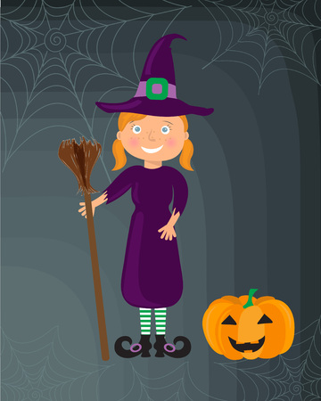 Cute cartoon girl in the Whitch Halloween costume with pumpkin. Smiling Girl with red hair, in whitch hat and dress with broom in hands. Vector. Illustration