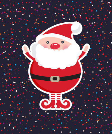 santa claus hats: Cute Santa Claus on dark Christmas ornament background with confetti