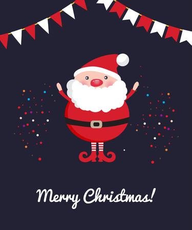 Cute Santa Claus on dark Christmas ornament background with confetti