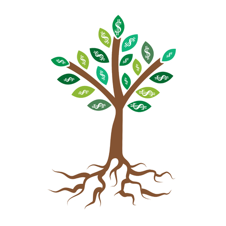 bank branch: Money tree. Business concept with white dollar signs on the green tree leaves
