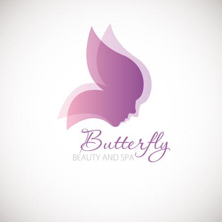 蝶のシンボルとベクトル図です。蝶の羽の形で 2 つの梨花の顔。ロゴデザイン。 美容、ウェルネス センター、健康クリニック