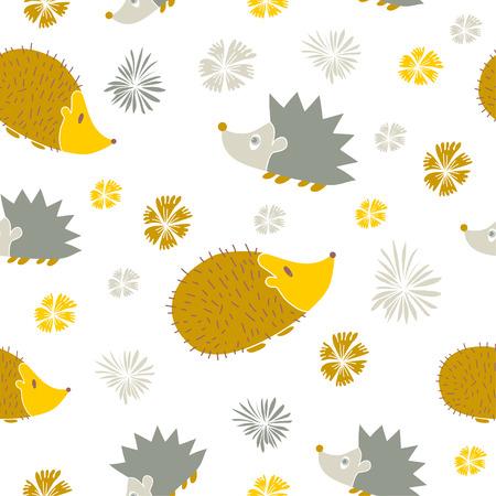 hedgehog: Vector Seamless Pattern with Cute Cartoon Hedgehogs. Autumn background. Illustration