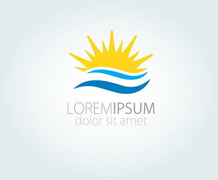 sunrise ocean: Vector Logo with yellow sun and blue sea waves. Vector logotype