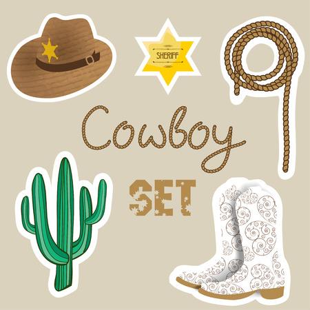 vaquero: Conjunto vaquero. Fondo del oeste salvaje para su diseño. Elementos del vaquero establecen. Botas, estrella sherif, cactus, sombrero y lazo en el fondo de color pastel.