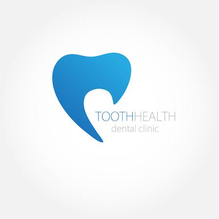 logo medicina: Logotipo de la clínica dental con el icono azul de los dientes