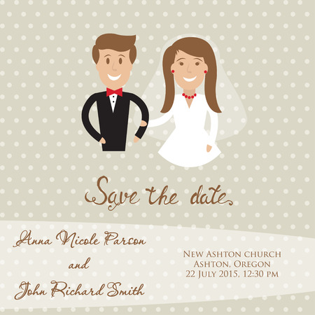 wed: Wedding  card with newly wed couple. Save the date card with bride and groom. Illustration