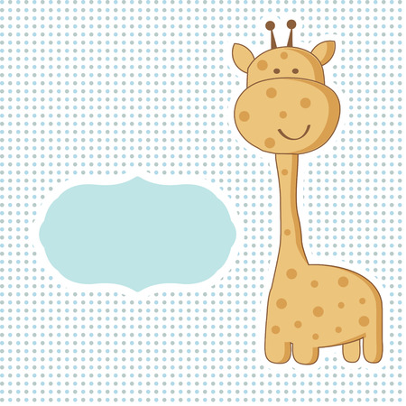 cartoon animal: Baby boy arrival card with cute giraffe on polka dot seamless pattern.