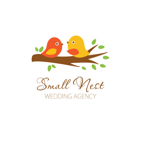 Cute logowith birds couple on the tree. Logo for wedding photographer, planner, blog, restaurante. Cute logo with birds. Banco de Imagens - 45651226