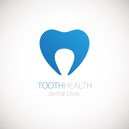Dental clinic vector logo with blue tooth on whote background. Tooth icon for logotype.