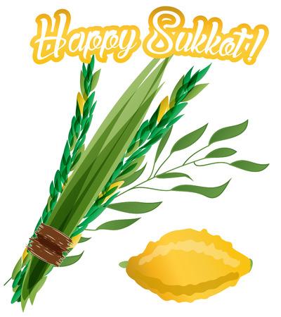 Vector illustration of four species - palm, willow, myrtle , lemon - symbols of Jewish holiday Sukkot Feast of Tabernacles. Holiday of Sukkot illustration. Illustration